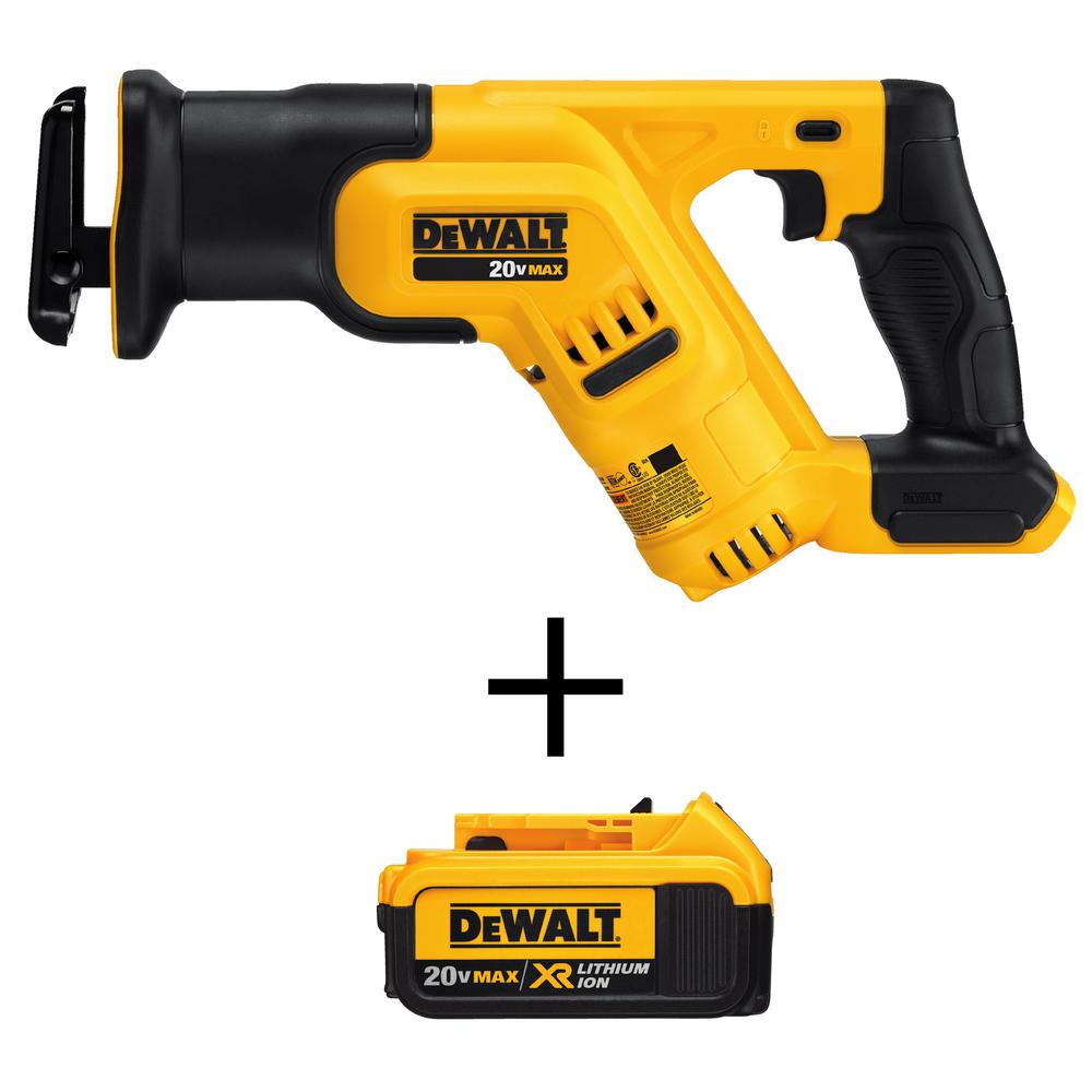 DEWALT 20-Volt MAX Li-Ion Cordless Compact Reciprocating Saw (Tool-Only) with Free 20-Volt MAX XR Li-Ion 4.0Ah Battery Pack