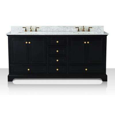 Audrey 72 in. W x 22 in. D Bath Vanity in Black Onyx with Marble Vanity Top in White with White Basin and Gold Hardware