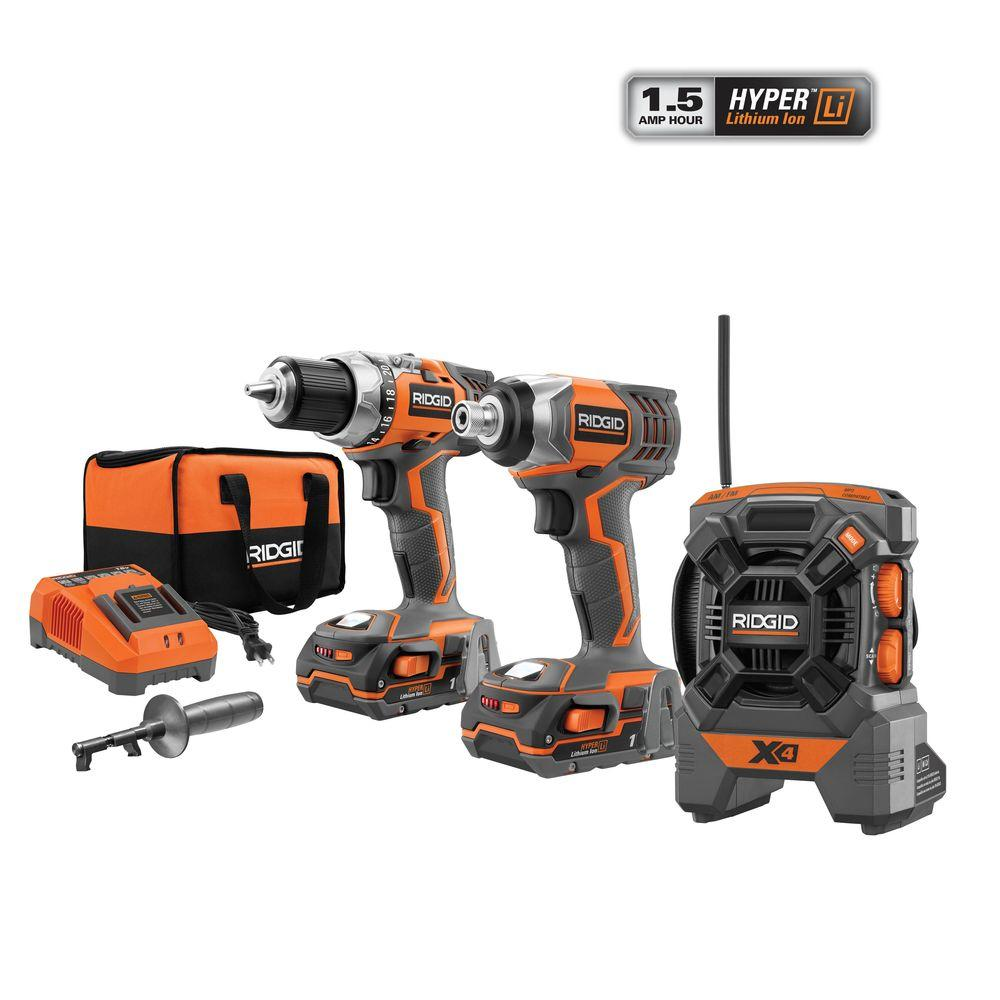 RIDGID X4 18-Volt Hyper Lithium-Ion Cordless Drill and Impact Driver Combo Kit (3-Tool) with Radio