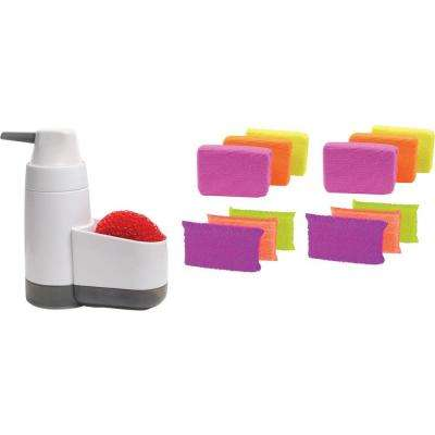 Soap Pump and Sponge Holder with Scrub Sponge and Microfiber Sponge 6-Pack