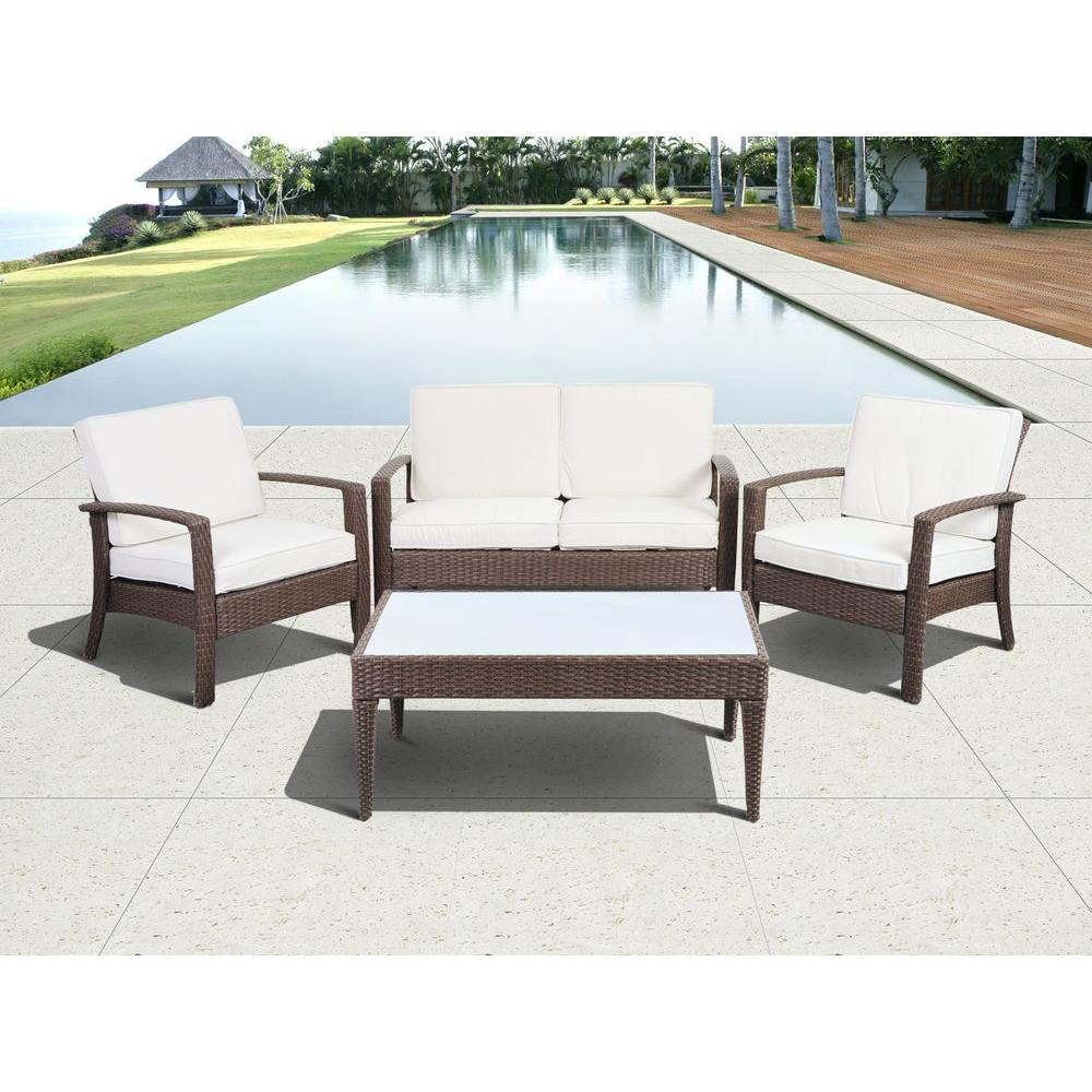 Atlantic Contemporary Lifestyle Florida Deluxe Brown 4-Piece All-Weather Wicker Patio Conversation Set with Off-White Cushions