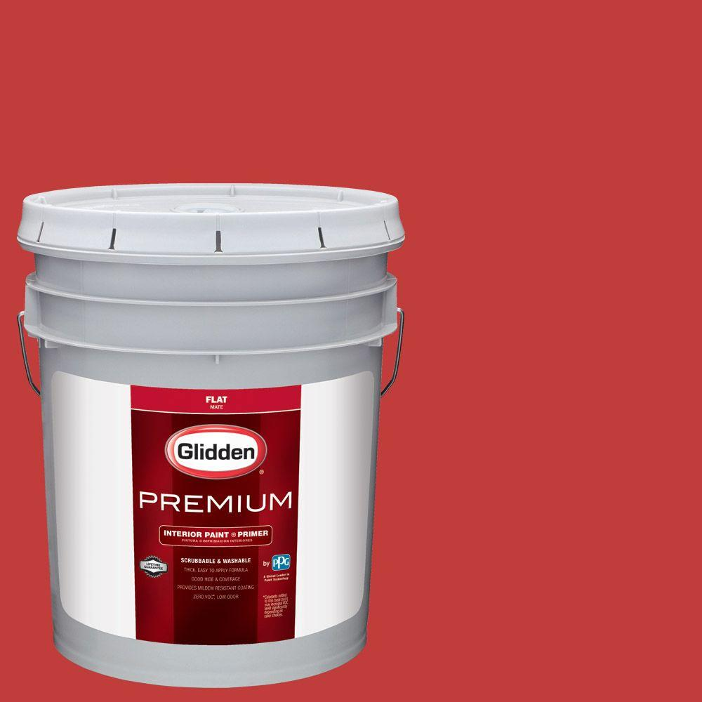 Hdgr53 Red Geranium Flat Interior Paint With Primer