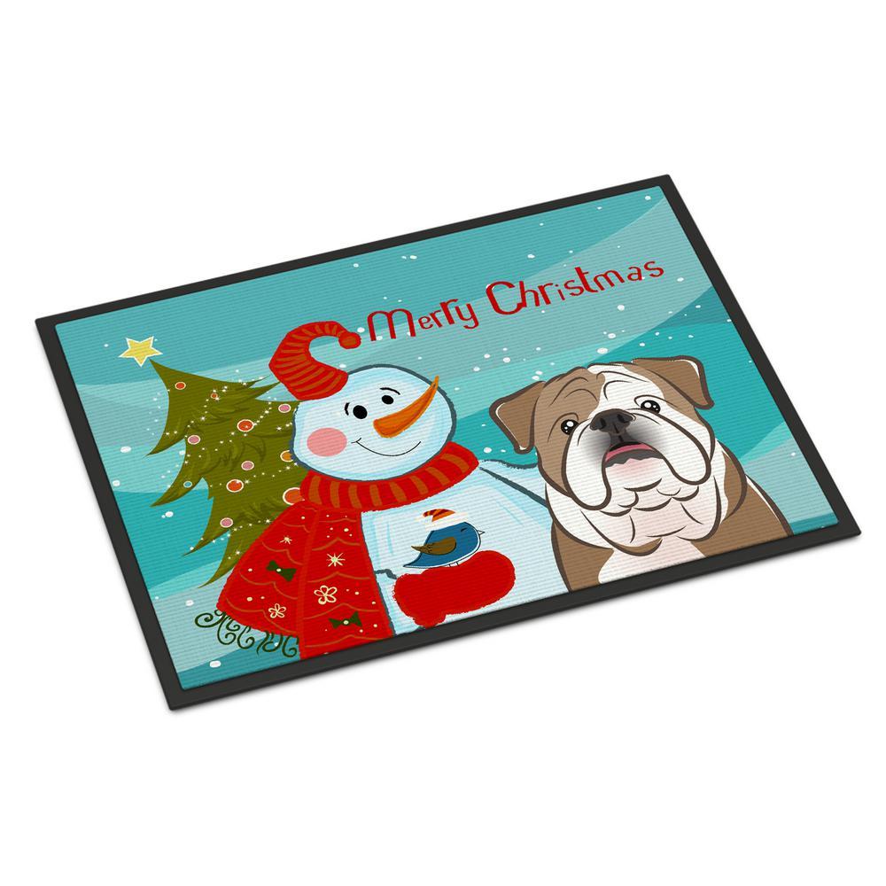 24 in. x 36 in. Indoor/Outdoor Snowman with English Bulldog Door Mat