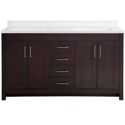 Westcourt 61 in. W x 22 in. D Bath Vanity in Chocolate with Cultured Marble Vanity Top in White with White Sinks