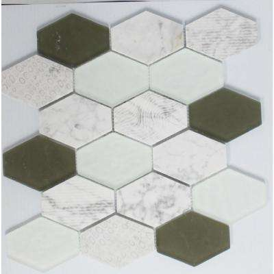 12 in. x 13 in. x 8 mm Tile Esque Mixed White Hexagon Textured Glass, Carrara Marble and Stone Mesh-Mounted Mosaic Tile