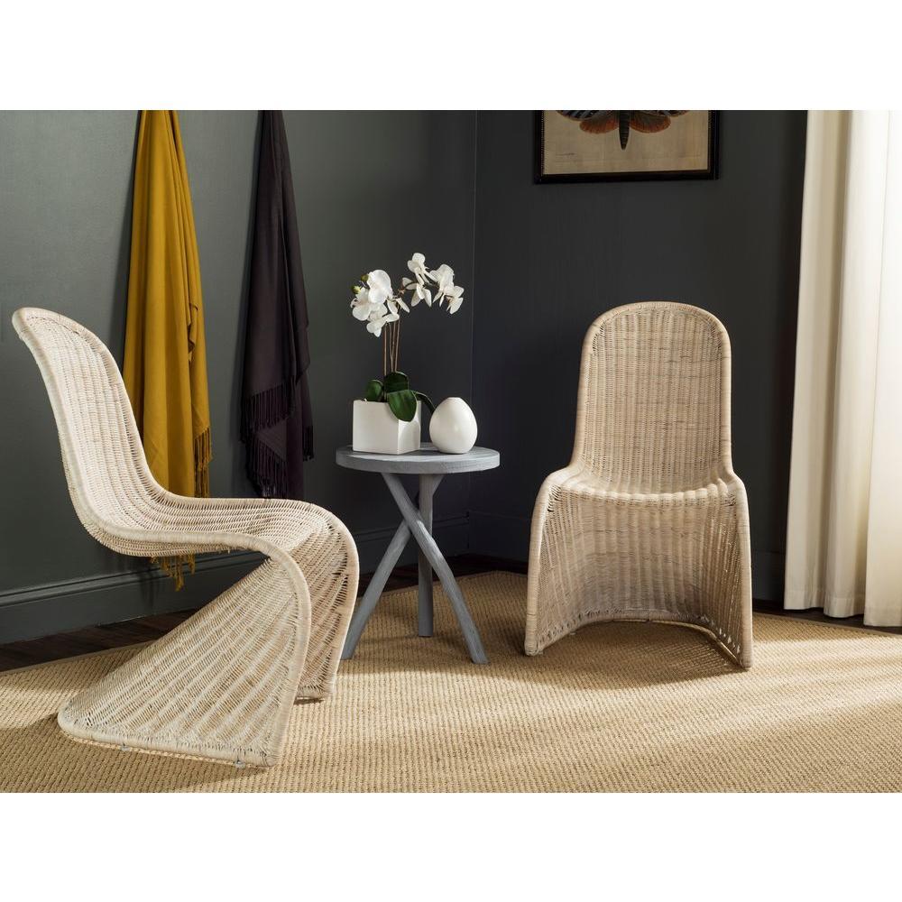 Safavieh Tana Grey Rattan Dining Chair (Set Of 2)