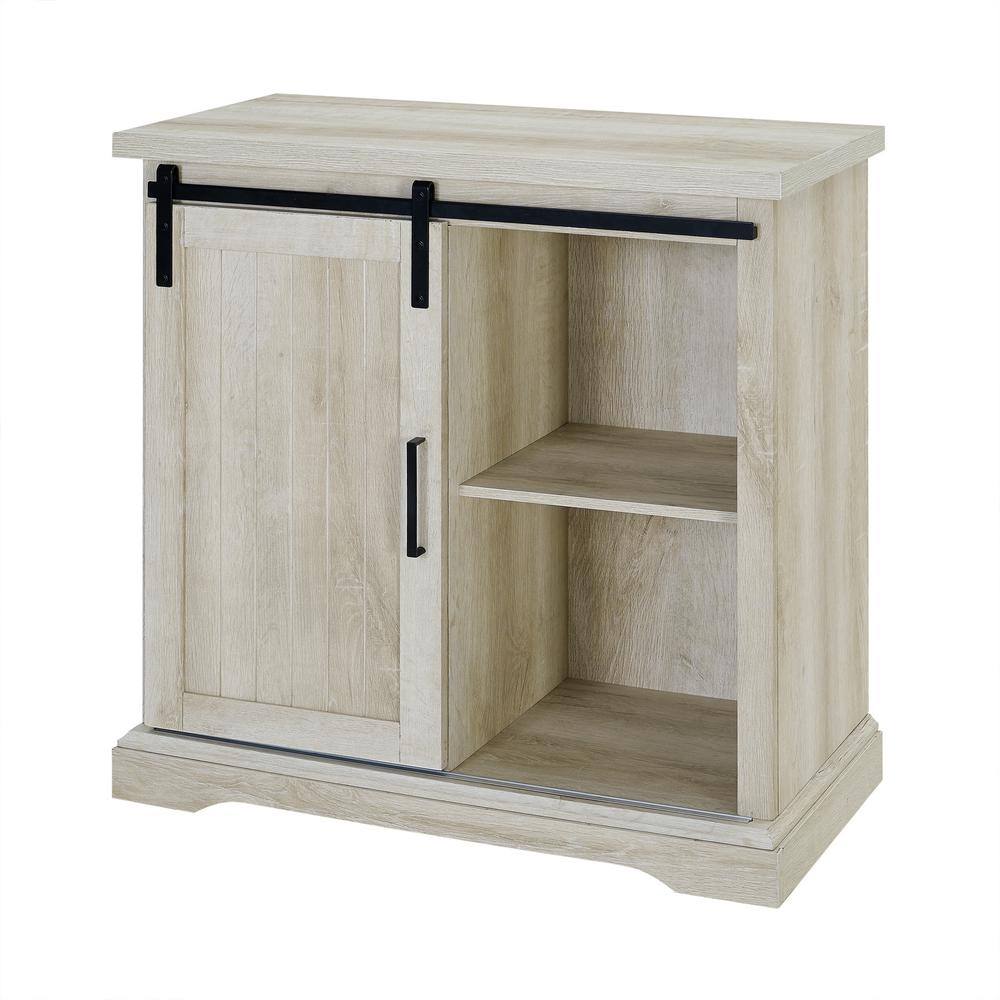 Walker Edison Furniture Company 32 In White Oak Modern Farmhouse Accent Cabinet Hdf32algrdwo The Home Depot