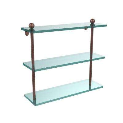 16 in. L x 15 in. H x 5 in. W 3-Tier Clear Glass Bathroom Shelf in Antique Copper