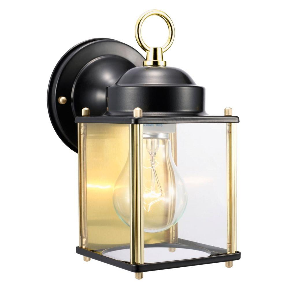 Coach Polished Brass and Black Outdoor Wall-Mount Downlight