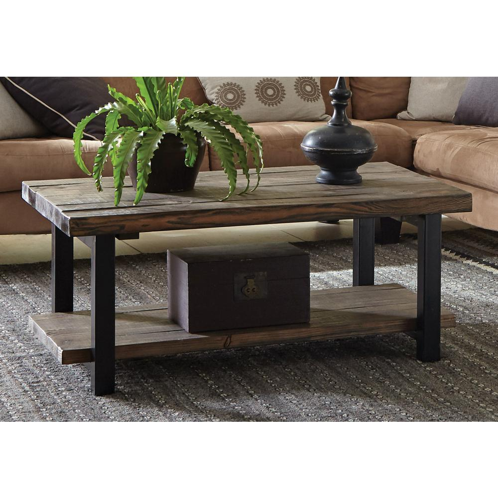 Alaterre Furniture Pomona Rustic Natural Coffee Table Amba1120 The Home Depot