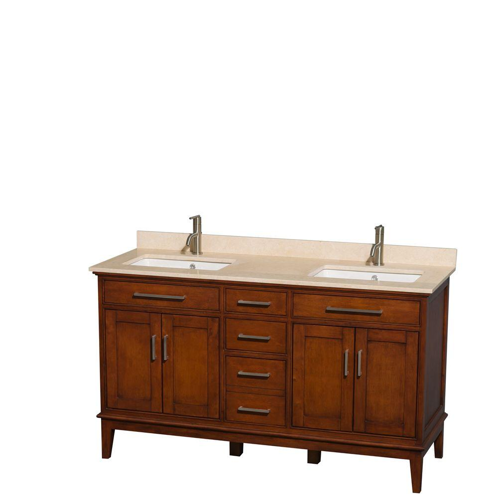 Wyndham Collection Hatton 60 in. Double Vanity in Light Chestnut with Marble Vanity Top in Ivory and Square Sinks