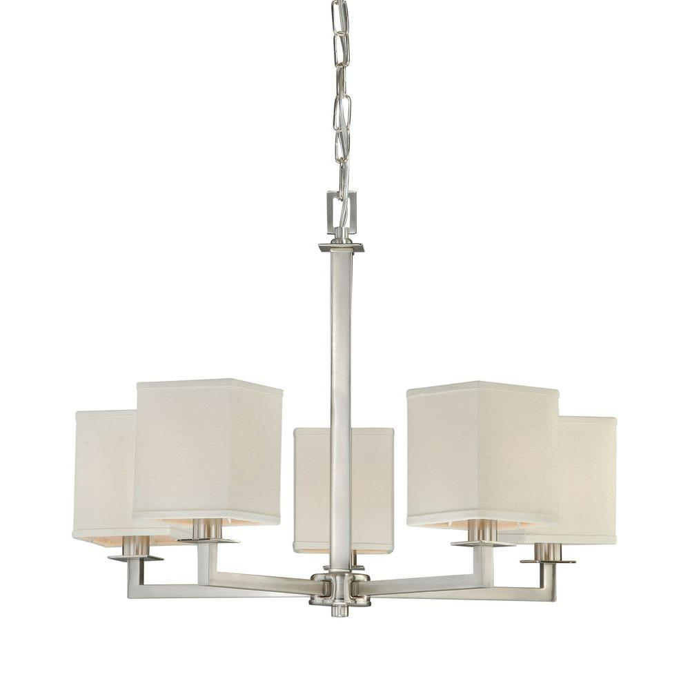 hampton bay menlo park 5 light brushed nickel chandelier with cream