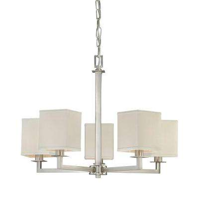 Menlo Park 5-Light Brushed Nickel Chandelier with Cream Fabric Shades