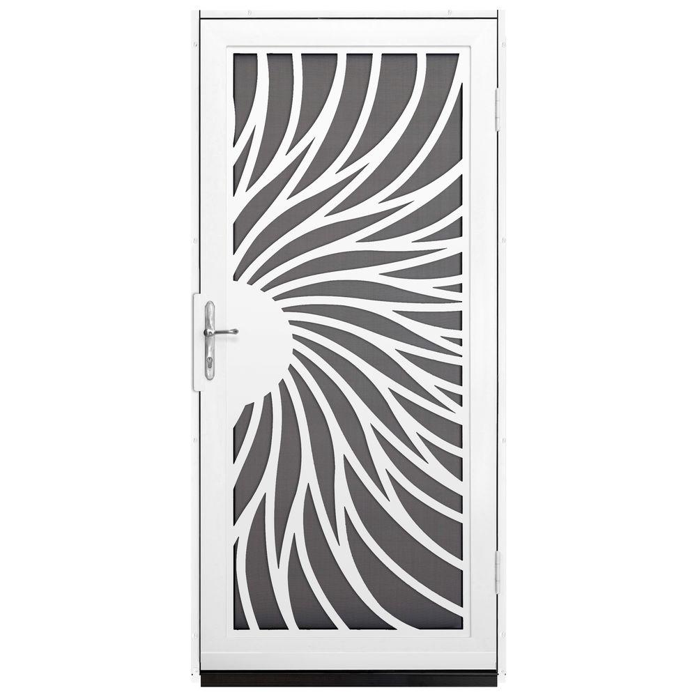 Unique Home Designs 36 in. x 80 in. Solstice White Surface Mount Steel Security Door with Insect Screen and Nickel Hardware