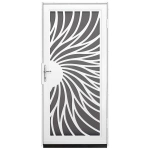 Unique Home Designs 36 In X 80 In Solstice White Surface Mount Steel Security Door With Insect Screen And Nickel Hardware Idr31000362150 The Home