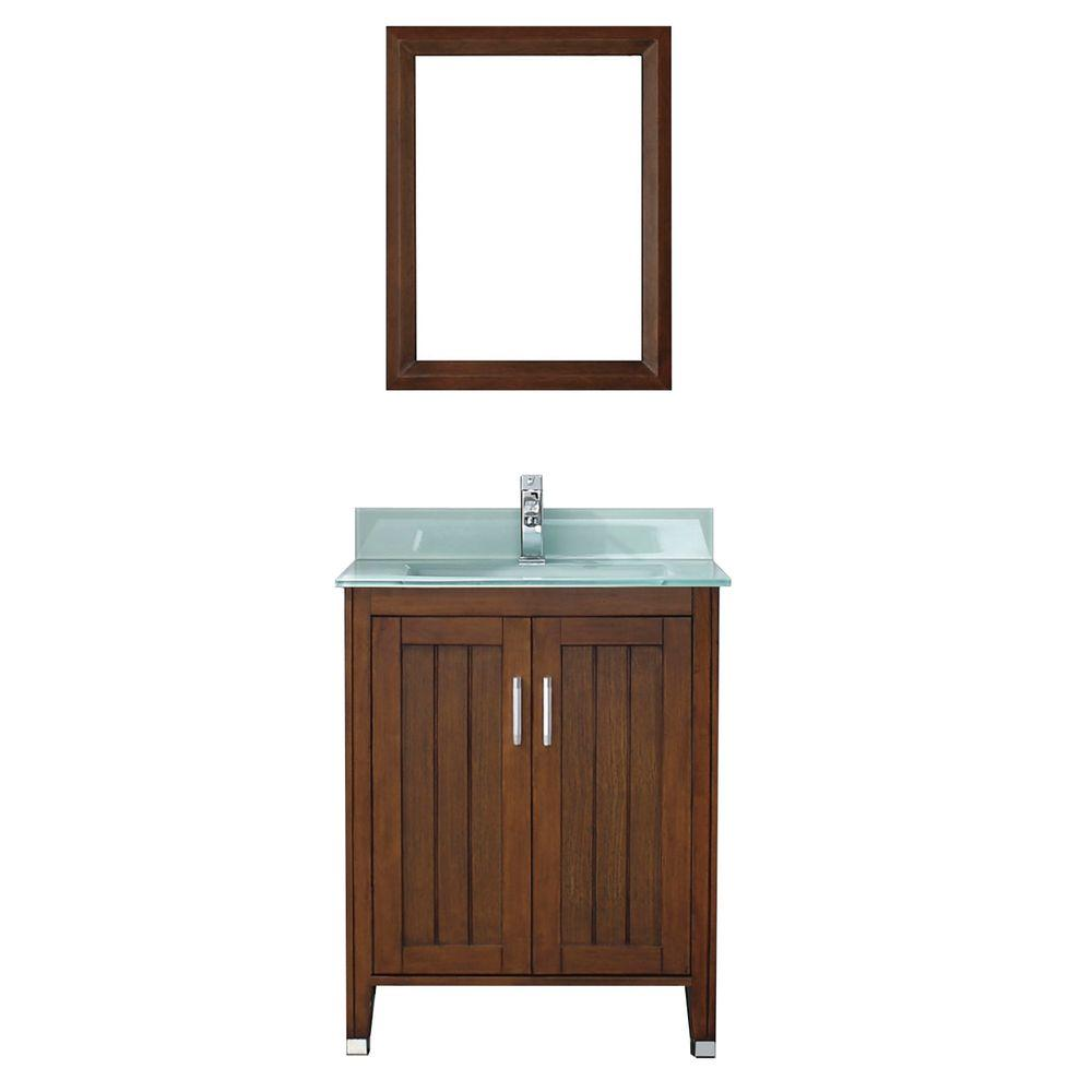 Studio Bathe Jackie 28 in. Vanity in Classic Cherry with Glass Vanity Top in Mint and Mirror