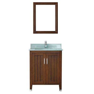 Jackie 28 in. Vanity in Classic Cherry with Glass Vanity Top in Mint and Mirror
