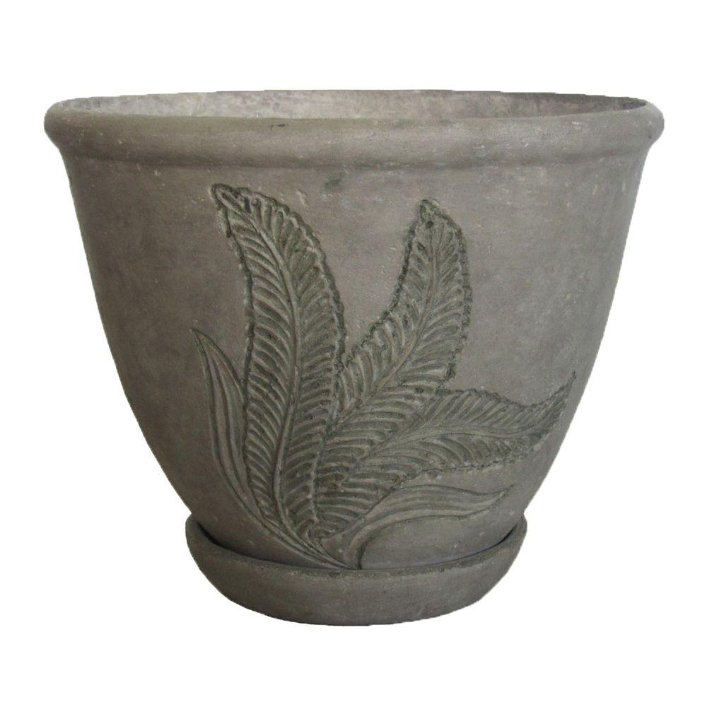 18 in. Round Aged Granite Cast Stone Pot with Attached Saucer