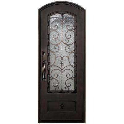 38 in. x 82 in. Orleans Classic 3/4 Lite Painted Oil Rubbed Bronze Hammered Wrought Iron Prehung Front Door