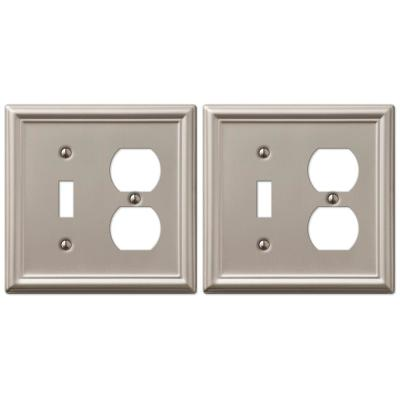 Ascher 2 Gang 1-Toggle and 1-Duplex Steel Wall Plate - Brushed Nickel (2-Pack)