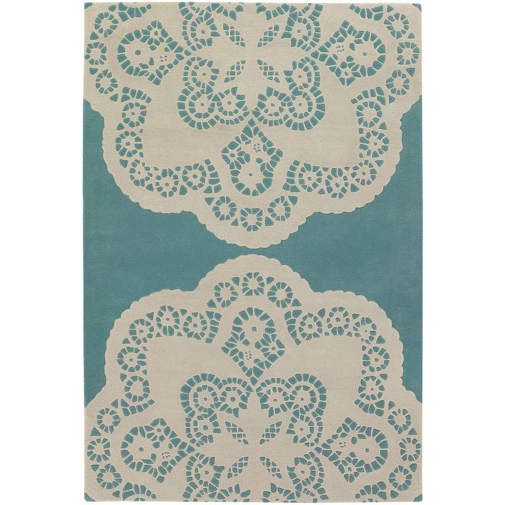 Chandra Thomaspaul Aqua/Cream 7 ft. 9 in. x 10 ft. 6 in. Indoor Area Rug