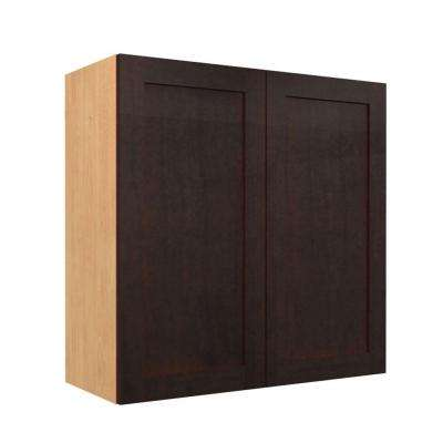 Elice Ready to Assemble 24 x 38 x 12 in. Wall Cabinet with 2 Soft Close Doors in Mocha