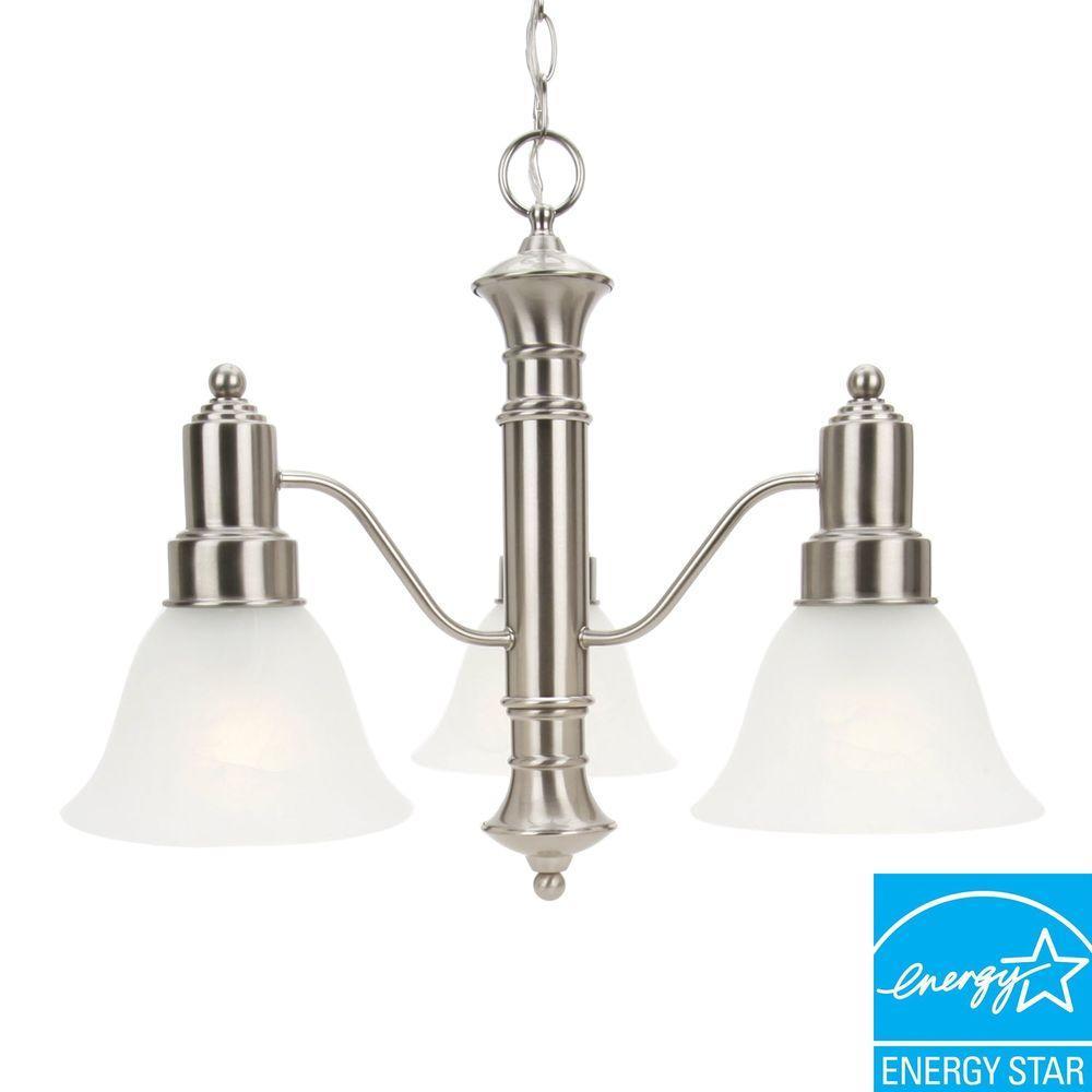 3-Light Brushed Nickel Hanging Chandelier