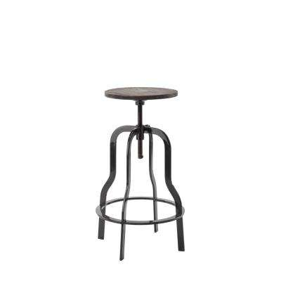 Adjustable 32 in. High Walnut Swiveling Bar Stool with Wood Top