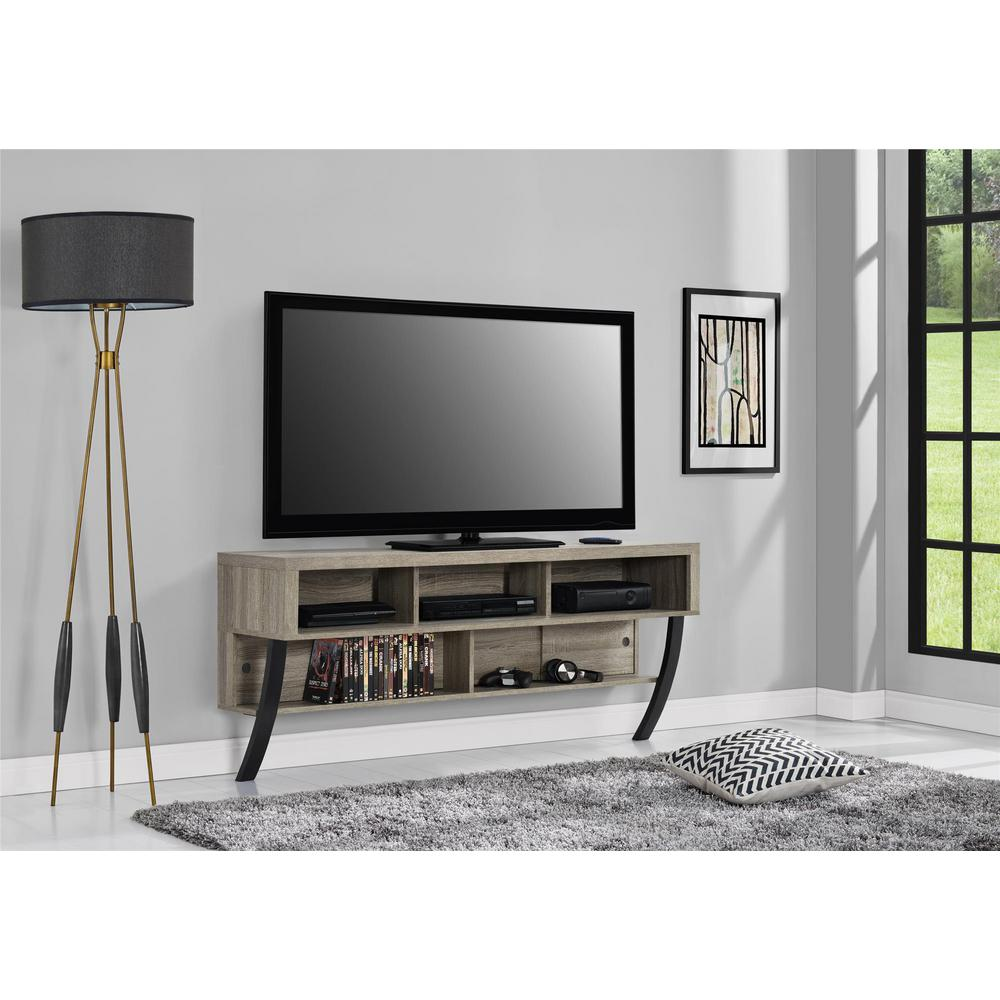 65 in willington weathered oak wall mounted tv stand. Black Bedroom Furniture Sets. Home Design Ideas