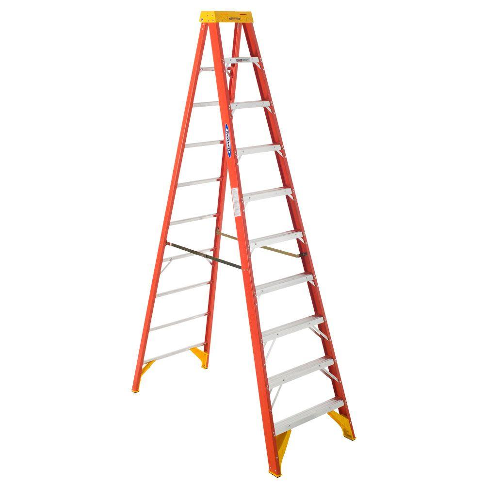 Werner 10 ft. Fiberglass Step Ladder with Shelf 300 lb. Load Capacity Type IA Duty Rating