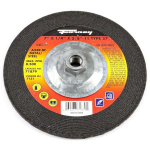 Forney 7 inch x 1/4 inch x 5/8 in.-11 Threaded Metal Type 27 A24R Grinding Wheel by Forney