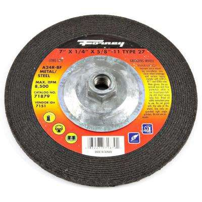 7 in. x 1/4 in. x 5/8 in.-11 Threaded Metal Type 27 A24R Grinding Wheel