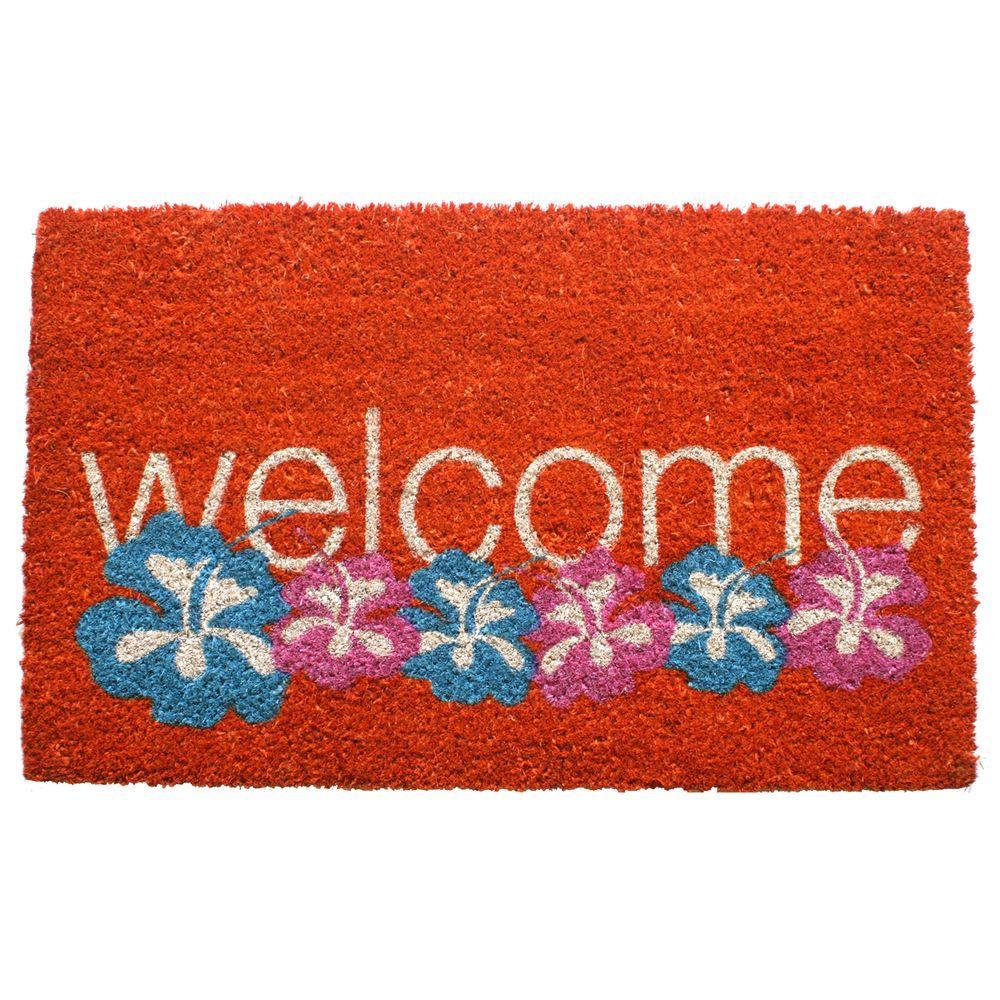 Entryways Warm Welcome 17 in. x 28 in. Non Slip Coir Door Mat