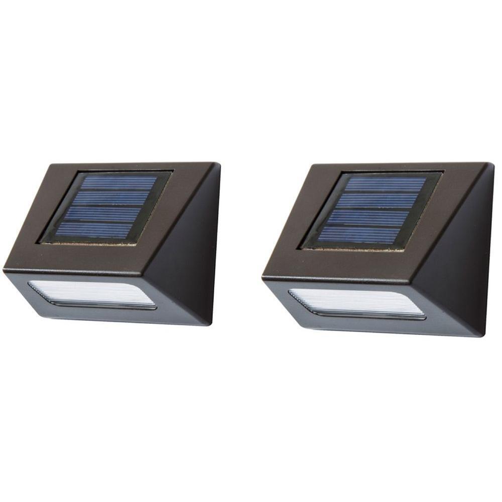 Solar Powered Brown Downcast Deck Light (2-Pack)