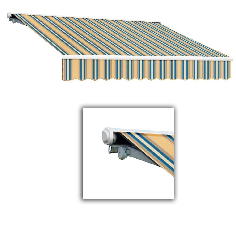 AWNTECH 12 ft. Galveston Semi-Cassette Left Motor with Remote Retractable Awning (96 in. Projection) in Tan/Teal