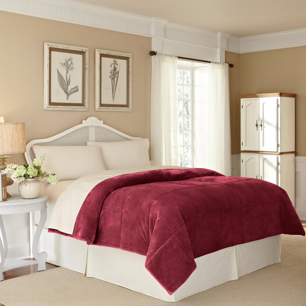Plush Lux Burgundy Polyester Twin Blanket