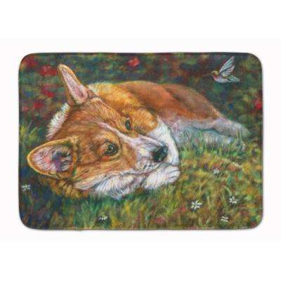 19 in. x 27 in. Corgi Pastel Hummingbird Machine Washable Memory Foam Mat