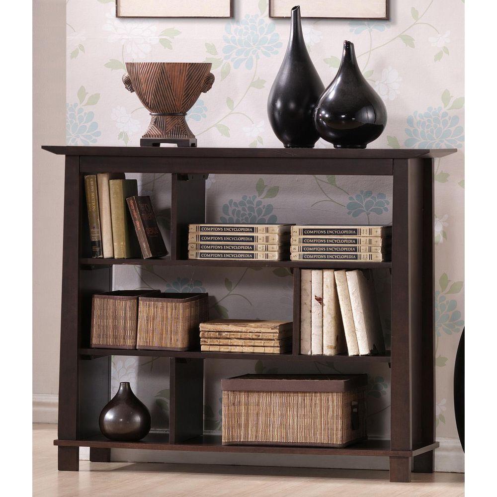 Havana Dark Brown Wood 3-Tier Open Shelf