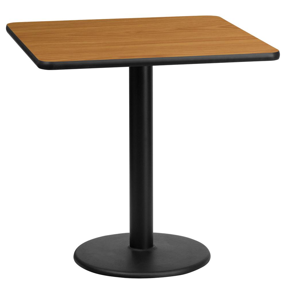 Superb Square Natural Laminate Table Top With 18 In. Round Table Height  Base XUNT2424TR18   The Home Depot