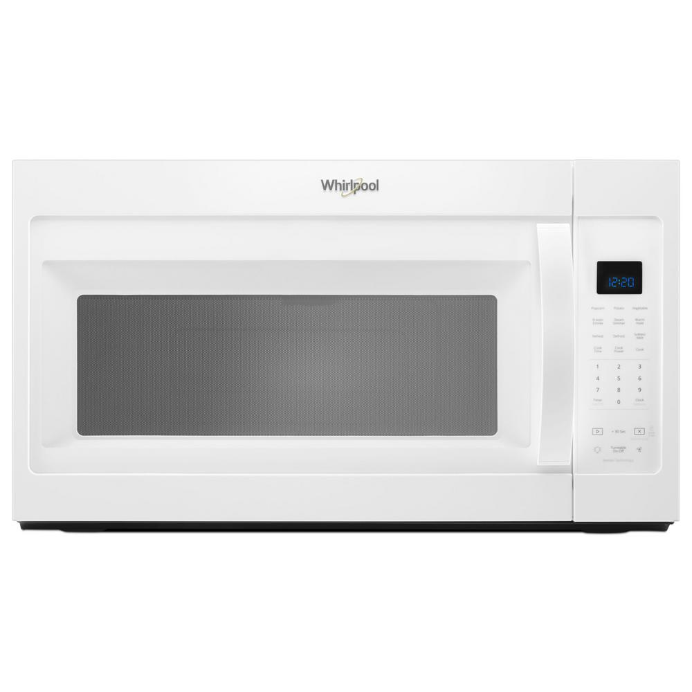 Whirlpool 1 9 Cu Ft Over The Range Microwave In White With Sensor Cooking And Steam