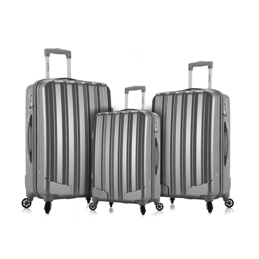 Rockland Barcelona 3 Hardside Luggage Set + 6-Piece Travel Accessories Set, Silver