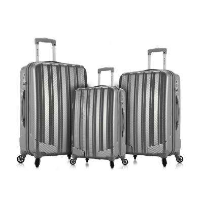 Rockland Barcelona 3 Hardside Luggage Set + 6-Piece Travel Accessories Set, Silver
