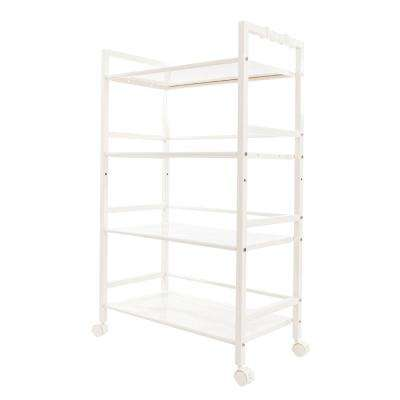 4-Tiers Iron Widen Multi-Functional Storage Cart Organizer Shelf in Ivory White