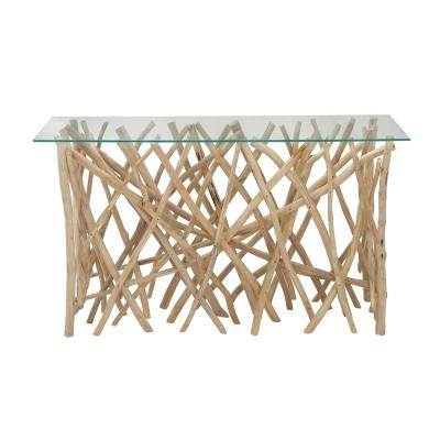 51 in. Tan/Clear Standard Rectangle Glass Console Table