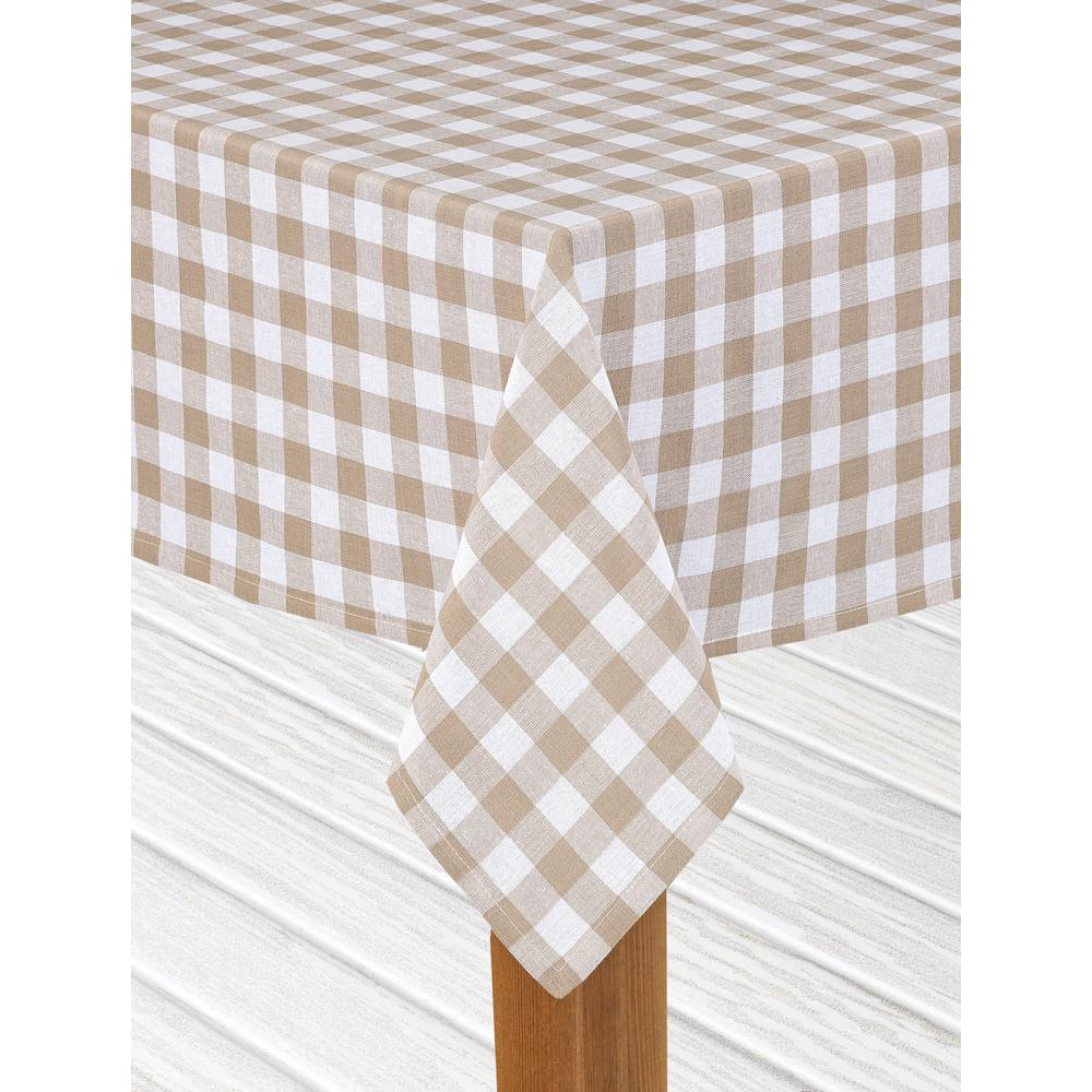 Lintex Buffalo Check 60 In. X 84 In. Sand 100% Cotton Table Cloth
