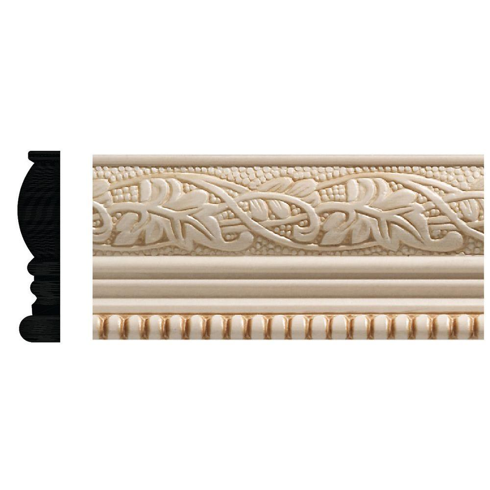 Ornamental Mouldings 1825 1 2 In X 4 96 White Hardwood Embossed Ivy Bead Trim Chair Rail Moulding 8ftwhw The Home Depot