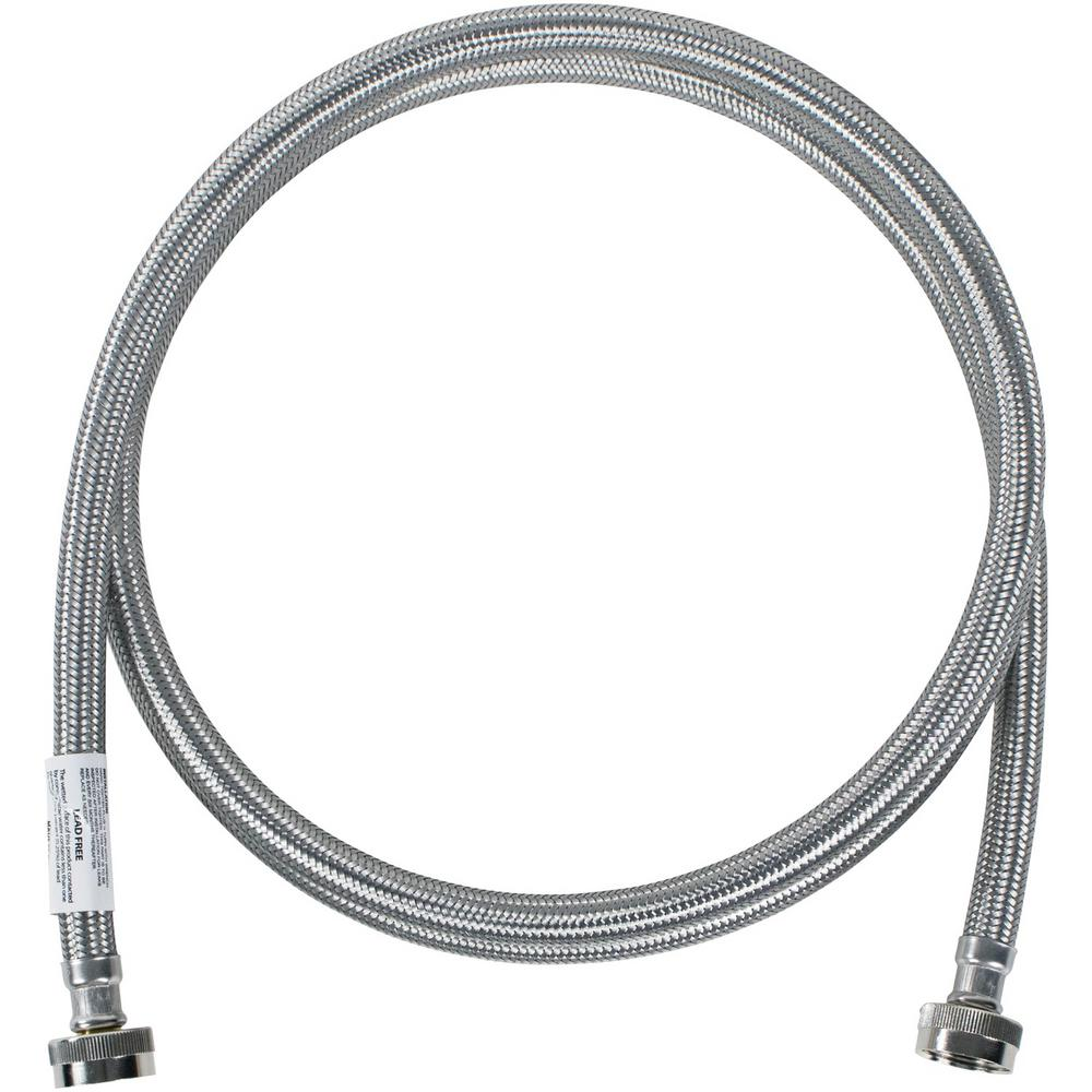 CERTIFIED APPLIANCE ACCESSORIES 8 ft. Braided Stainless Steel Washing Machine Hose, Silver For years, licensed plumbers, electricians and appliance installers have relied on CERTIFIED APPLIANCE ACCESSORIES for their power cords, hoses and connectors. Now you can too. Enjoy the convenience offered by this washing machine hose with elbow from CERTIFIED APPLIANCE ACCESSORIES. Its flexibility and durability ensure a reliable connection for your next home installation project. This high-quality washing machine hose has been thoroughly tested and is backed by a 5-year limited warranty. Always consult your appliances installation instructions. Check your appliance's manual for the correct specifications to ensure this is the right hose for you. Thank you for choosing CERTIFIED APPLIANCE ACCESSORIES Your Appliance Connection Solution. Color: Stainless Steel.
