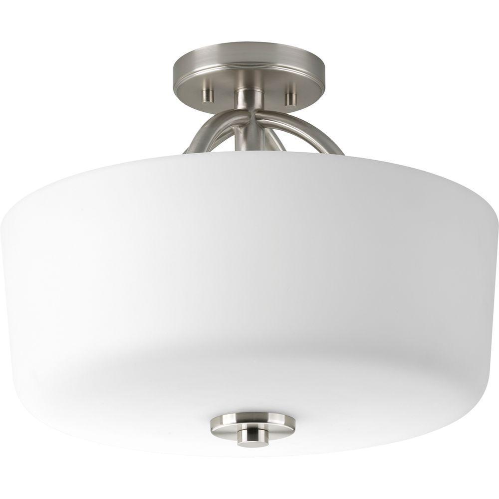 Progress Lighting Calven Collection Brushed Nickel 3-Light Semi-Flush Mount