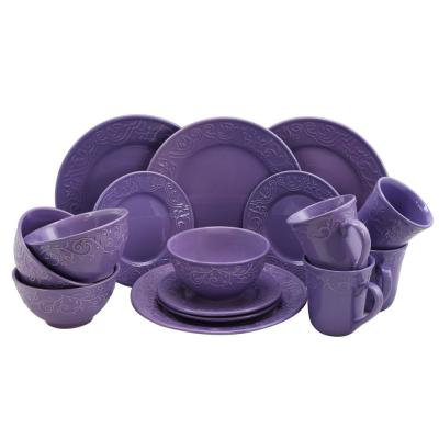 Lilac Fields 16-Piece Lilac Dinnerware Set