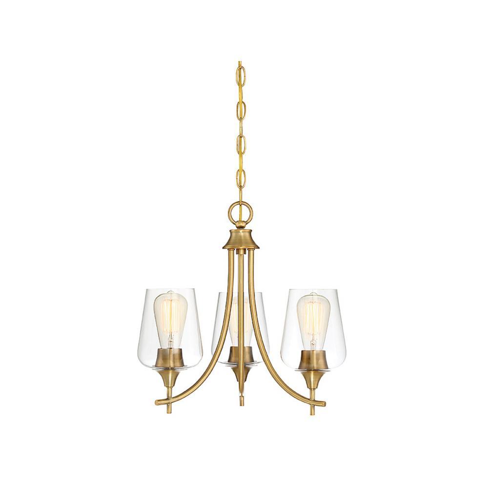 3-Light Warm Brass Chandelier